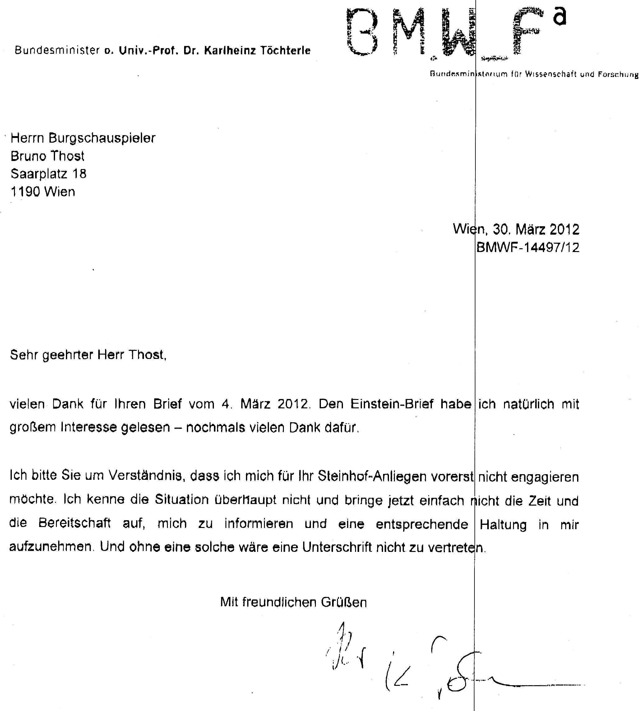 Initiative Steinhof: Offene Briefe